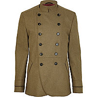 Green double breasted military style coat