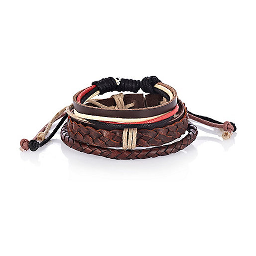 Brown leather woven bracelet pack