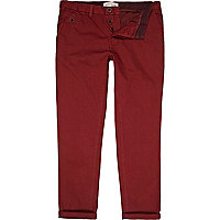Red turn up casual slim chinos