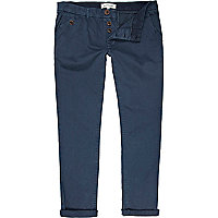 Navy turn up casual slim chinos