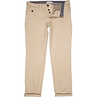 Stone turn up casual slim chinos