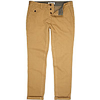 Light brown turn up slim chinos