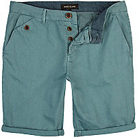 Aqua blue turn up chino shorts