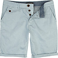 Light blue turn up chino shorts