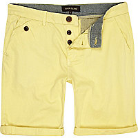 Yellow turn up chino shorts