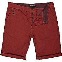 Red turn up chino shorts