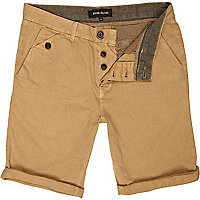 Brown turn up chino shorts