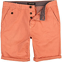 Orange washed turn up chino shorts