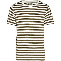 Dark green stripe crew neck t-shirt