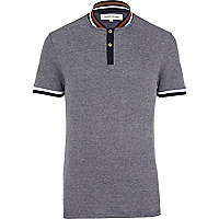 Navy stripe trim collarless polo shirt
