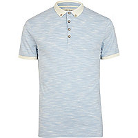 Blue space dye contrast collar polo shirt