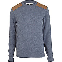 Blue marl shoulder patch sweatshirt