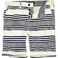 Navy placement stripe turn up shorts