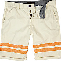 Ecru placement stripe turn up shorts