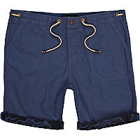 Blue contrast turn up cargo shorts