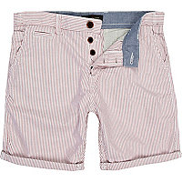 Red stripe turn up smart shorts
