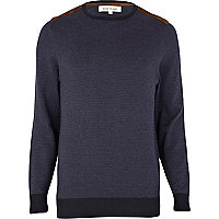 Navy fairisle shoulder patch jumper