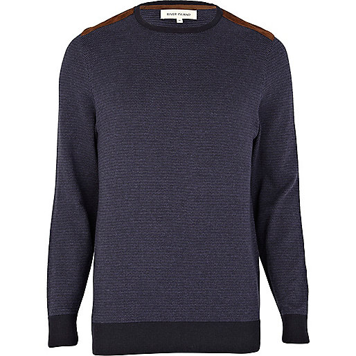 Navy fair isle shoulder patch jumper