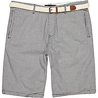 Grey mini check print belted shorts