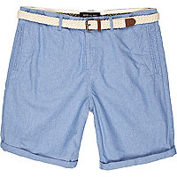 Blue woven belt turn up shorts