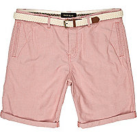 Pale red woven belted turn up shorts