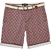 Purple star print belted shorts
