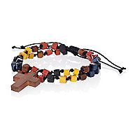 Red multicoloured cross bead bracelet