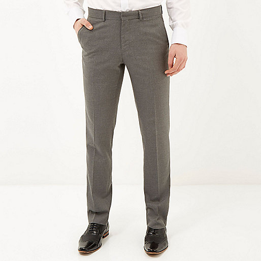 Grey classic smart slim fit pants