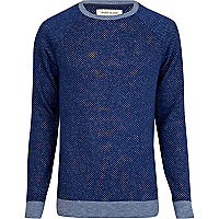 Blue textured raglan jumper
