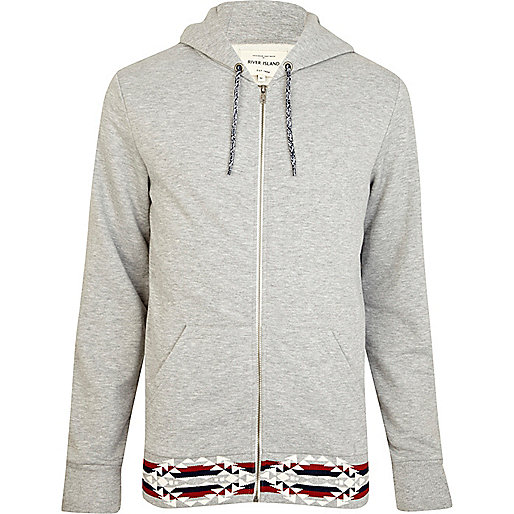 Grey aztec trim zip up hoodie