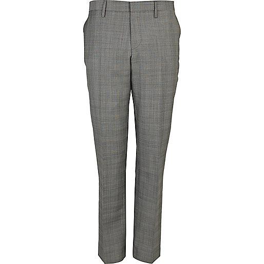 Light grey slim fit smart suit pants