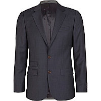 Navy hopsack slim fit suit jacket