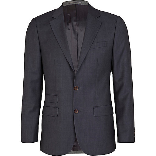 Navy hopsack slim fit suit jacket