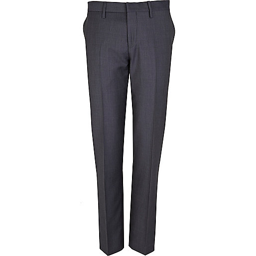 Navy hopsack slim fit suit trousers