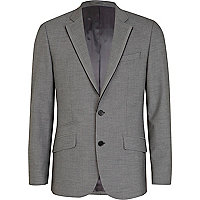 Grey basket weave slim fit suit jacket