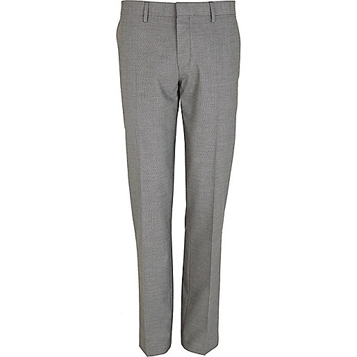 Grey basket weave slim fit suit trousers