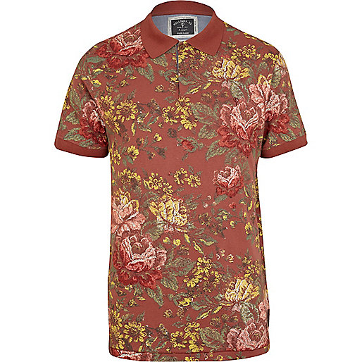 Red Holloway Road floral print polo shirt