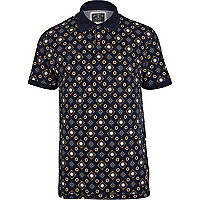 Navy Holloway Road tile print polo shirt