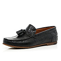 Black croc tassel loafers