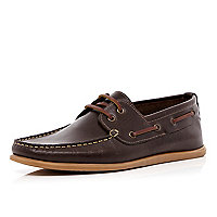 Brown lace up boat shoes