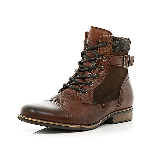 Brown contrast panel lined biker boots