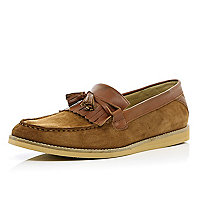 Brown suede contrast panel tassel loafers
