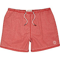 Red washed short swim shorts