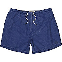 Blue washed short swim shorts