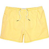 Yellow washed short swim shorts
