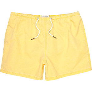 Yellow washed short swim shorts
