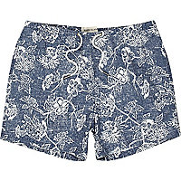 Blue floral print swim shorts