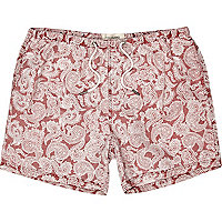 Red paisley print swim shorts