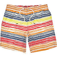Multicoloured irregular stripe swim shorts