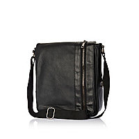 Black perforated panel zip cross body bag
